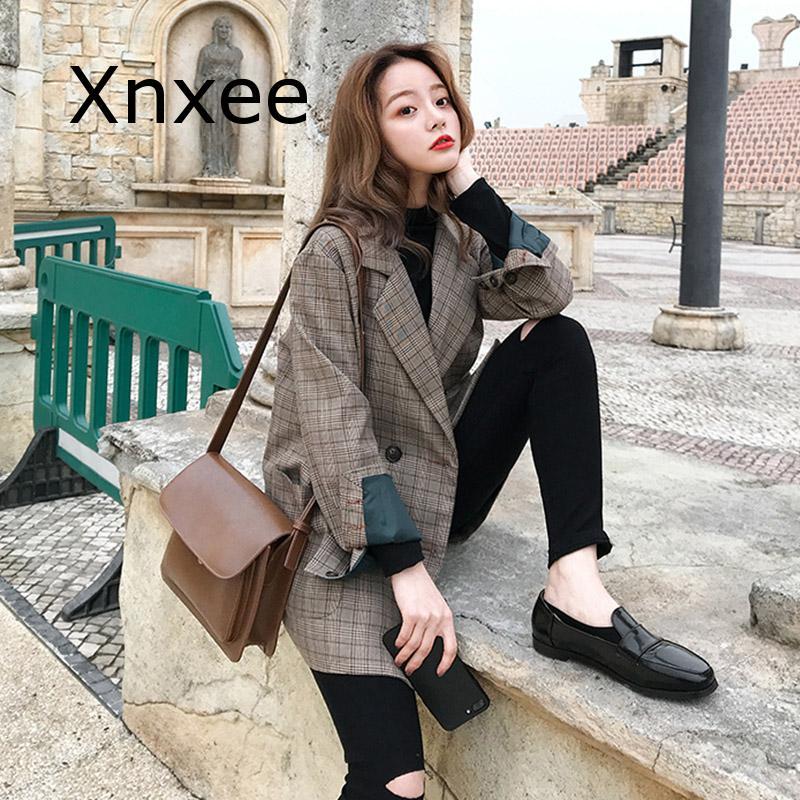Vintage Double Breasted Office Ladies Plaid Blazer Long Sleeve Loose  Retro Suits Coat Jacket Women Blazers Female 2020