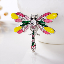 New Fashion Colorful Alloy Butterfly Dragonfly Rhinestone Painting Oil Animal Brooch For Women Jewelry
