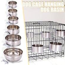 Aço inoxidável comum pet tigela gaiola cão pendurado fixo cão bacia alimentador de água potável hundenapf