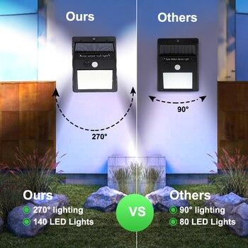 1/2/4pcs 140 LED Outdoor Solar Light PIR Motion Sensor Wall Light Waterproof Solar Lamp Solar Powered Sunlight Garden Decoration 3