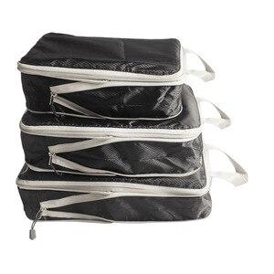 Image 4 - Rantion 3pcs/set Compression Packing Cubes Travel Storage Bag Luggage Suitcase Organizer Set Foldable Waterproof Nylon Material