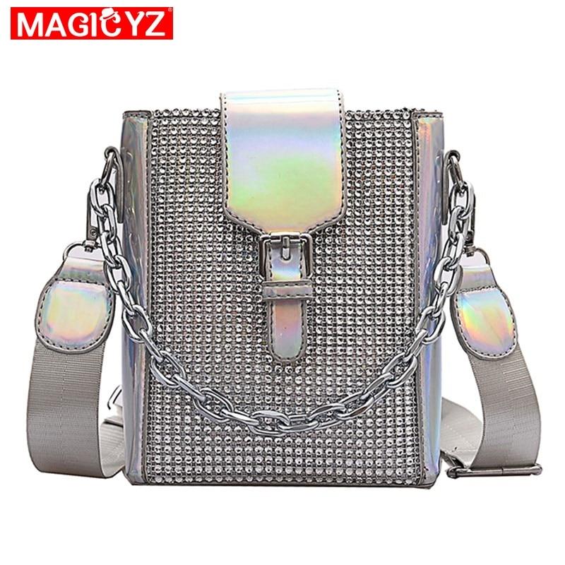 Fashion laser chain bucket bag female Crossbody Bags for Girl shoulder mobile phone bag women Bling diamond Purse and handbags(China)