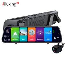 """4G لتحديد المواقع والملاحة جهاز تسجيل فيديو رقمي للسيارات 10 """"شاشة تعمل باللمس كاميرا رؤية خلفية للسيارة مرآة أندرويد 8.1 بلوتوث واي فاي 1080P مسجل فيديو داش كام"""
