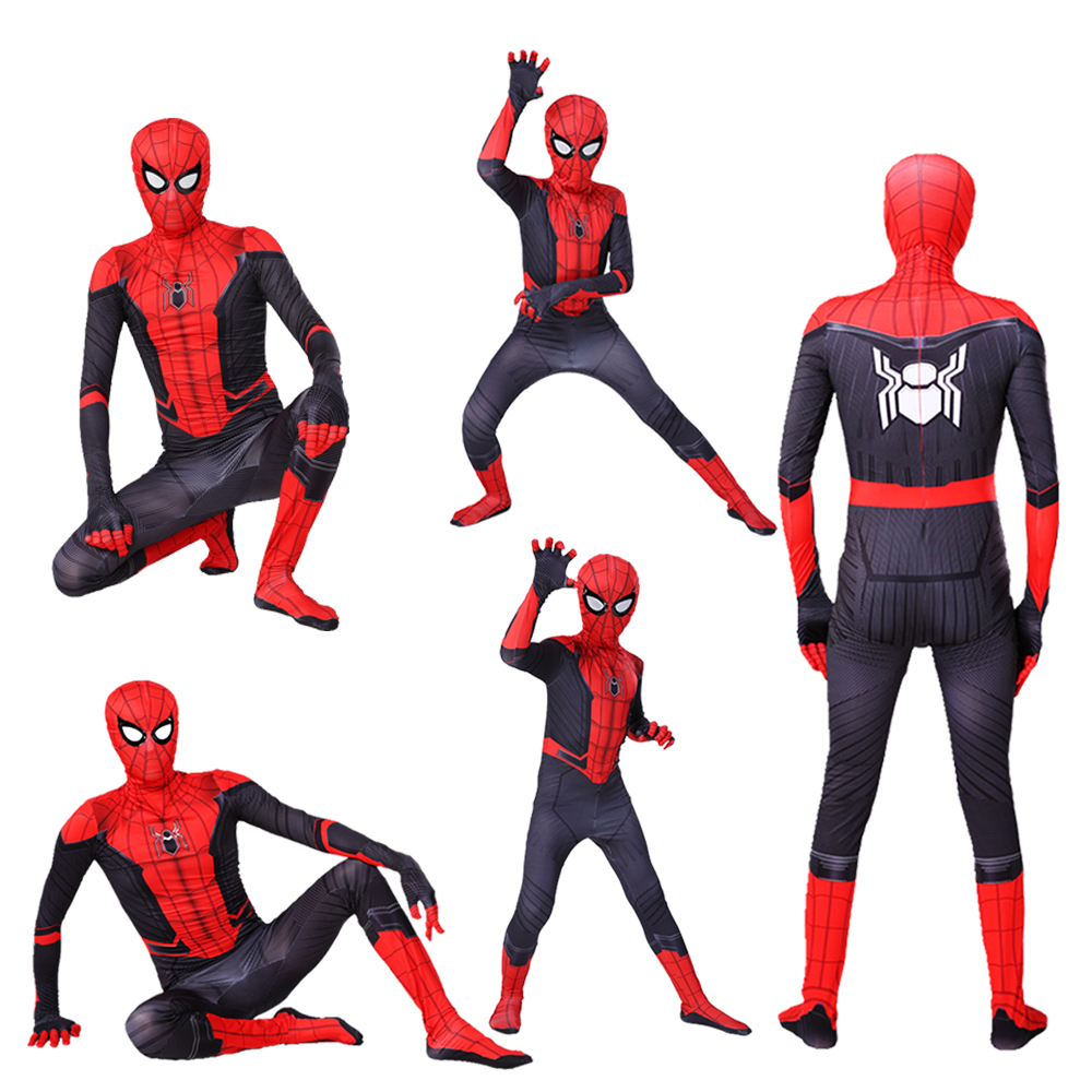 Kids Adult Spider Man Far From Home Costume Peter Parker Cosplay Costumes Zentai Spiderman Superhero Bodysuit Suit Jumpsuits