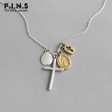 F.I.N.S S925 Sterling Silver Necklace INS Gold Silver Cross Virgin Mary Coin Necklace Pendant Silver 925 Fine Jewelry(China)