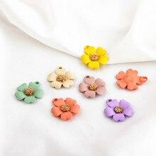 10PCS Spray Paint Five-petal Flowers Enamel Charms For DIY Bracelet Necklace Earings Flower Pendants Fashion Jewelry Accessories