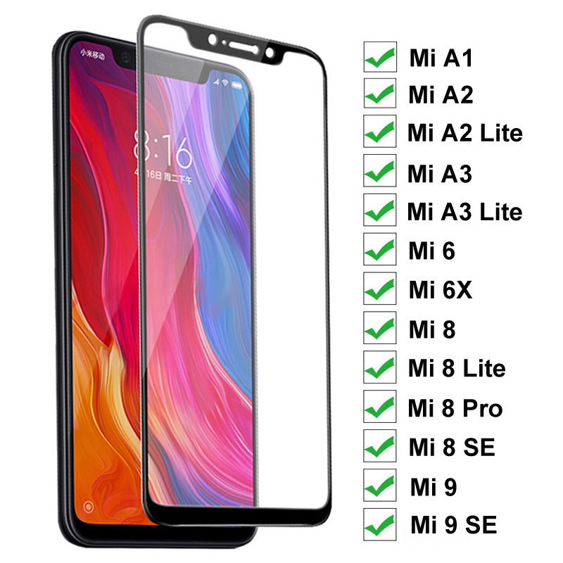 9H Protective Glass On The For Xiaomi Mi A1 A2 A3 Lite 5X 6X Tempered Glass For Mi 6 8 9 SE Pro Full Cover Screen Protector Film(China)