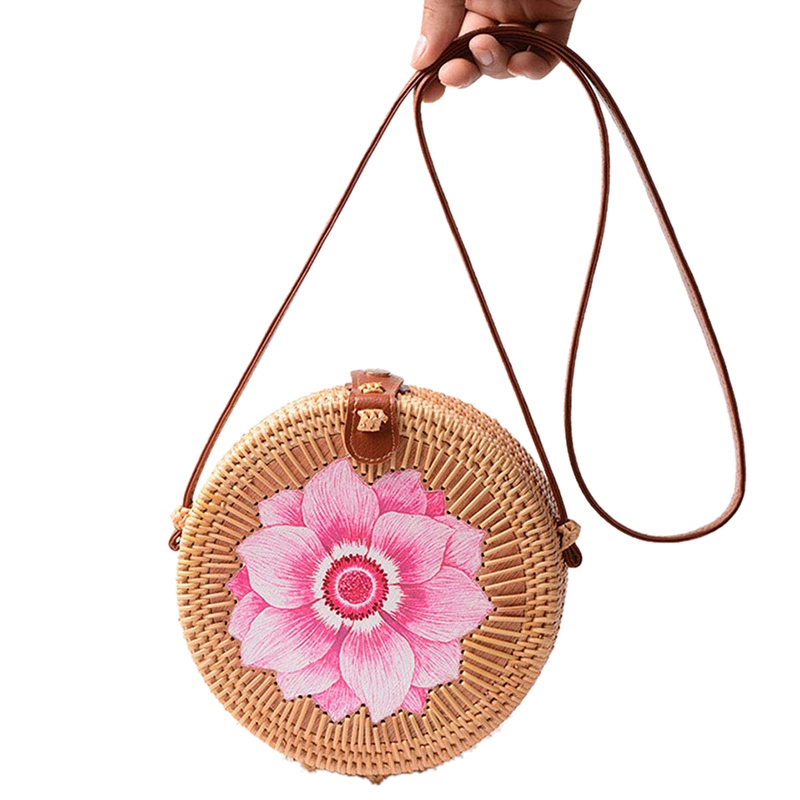Round Women Rattan Bag Handmade Petal Rattan Shoulder Beach Bag Crossbody Bag Sunflower, Flower Style