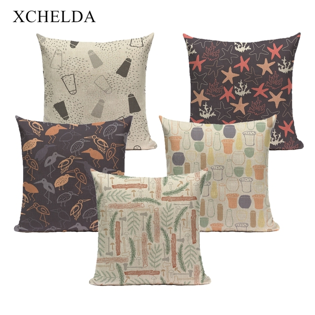 Pillow Case Cotton Spring Pillowcase Cartoon Abstract Decorative 45*45 40*40 for Bedroom Beige purple fur Linen Cushion Cover