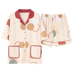Image 5 - BZEL Fashion Womens Sleepwear Set 100% Cotton Underwear Cute Ladies Pajamas Short Sleeve Shorts Nightwear Home Cloth For Female