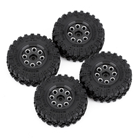 """INJORA 4PCS CNC 1.0"""" Beadlock Wheel Rim & Tire Set for 1/24 RC Crawler Car Axial SCX24 90081 AXI00001 Deadbolt 5"""