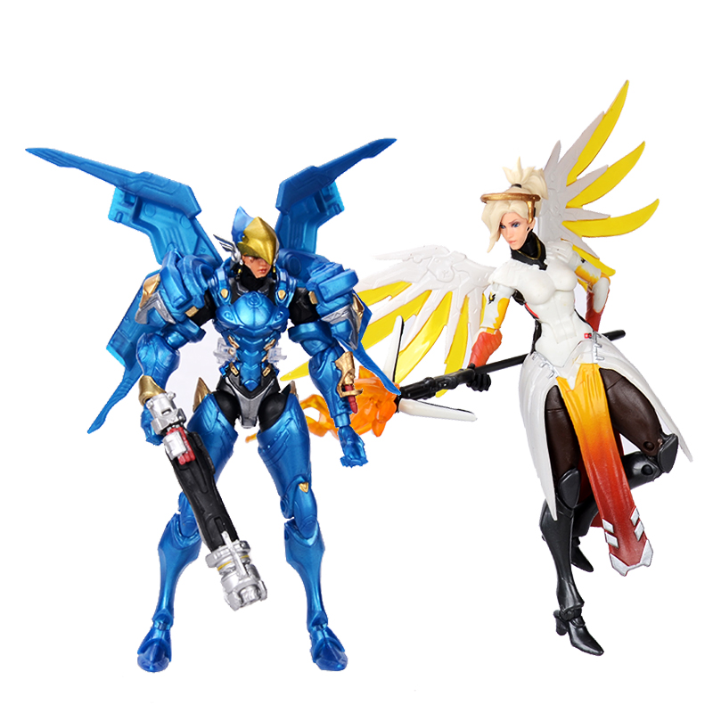 Hasbro Overwatch Ultimates Mercy and Pharah Shrike Ana and Soldier:76  Action Figures Suit Model Toys 6'' 1