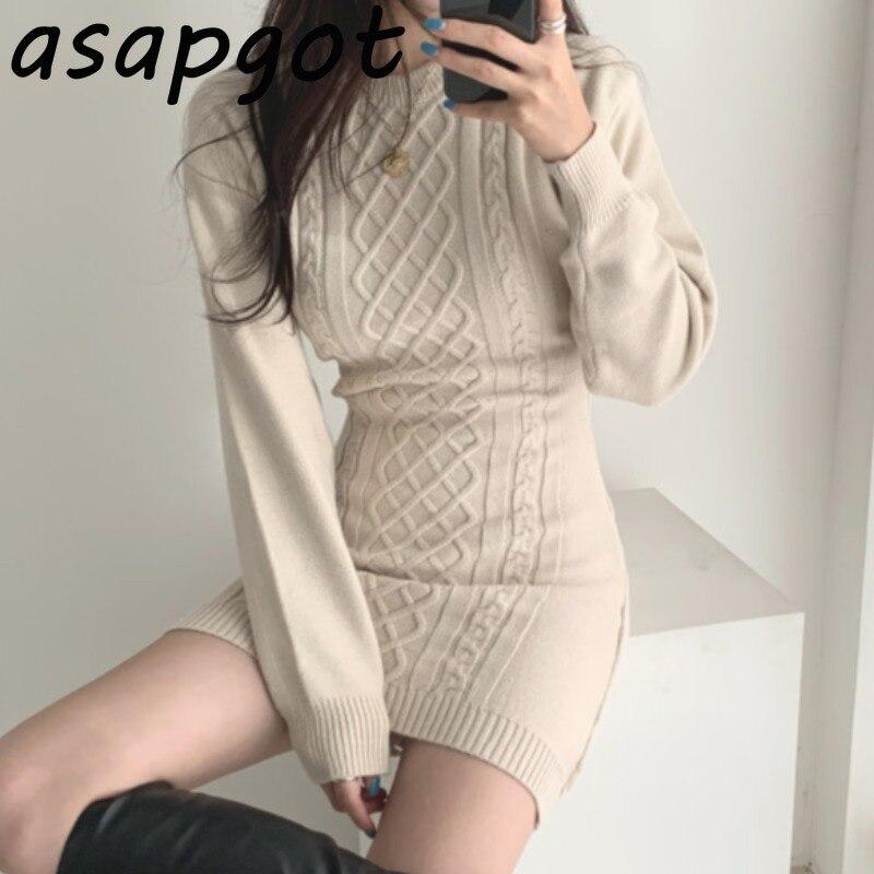 Женское трикотажное платье свитер с круглым вырезом и открытой спиной в Корейском стиле, Осень зима|Платья| | АлиЭкспресс