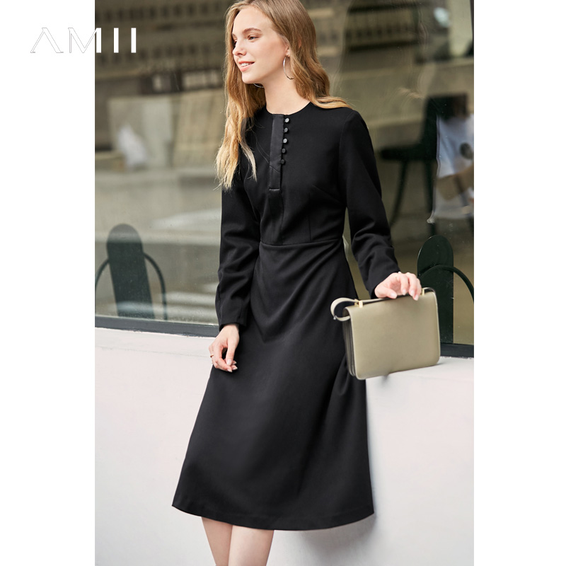Amii Women Elegant A-line Dress Female Causal Round Neck Solid Patchwork Buttons Long Sleeve Dresses 11737381