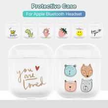 Case For Airpods Cute Lovely Heart Painted Transparent Hard