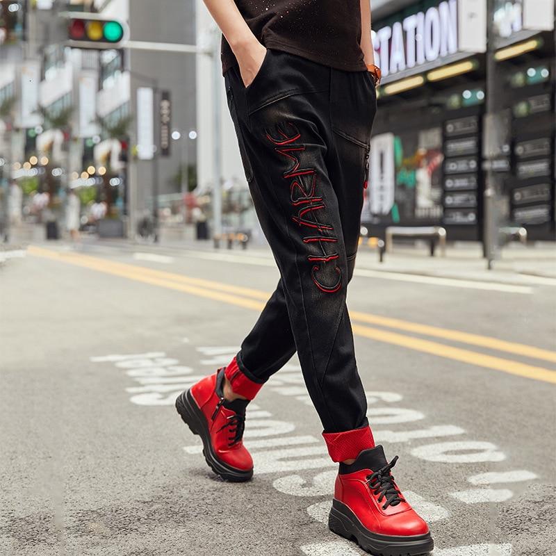 prined Max 最大ルル春のファッションヴィンテージ弾性ハーレムパンツ韓国レディースブラックスキニーリッピング 本日の割引 15