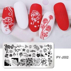 Image 5 - Pict you placas de estampagem de unha, flor retangular, aço inoxidável, estênceis de imagem, modelo de estampagem