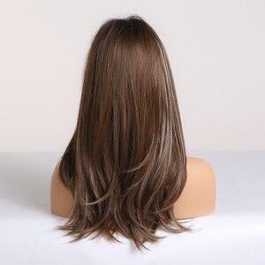 Image 2 - אלן איטון ארוך ישר סינטטי שיער פאות לנשים שחורות האפרו Ombre שחור חום אפר בלונדינית פאת קוספליי עם פוני שכבות