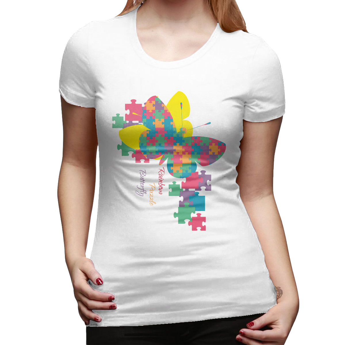 Rainbow <font><b>Puzzle</b></font> <font><b>Butterfly</b></font> Summer Fun Letter Printing Casual Fashion Short-sleeved Harajuku Women T-shirt image