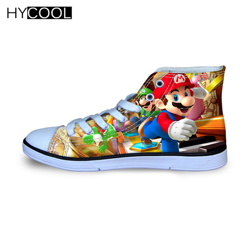 HYCOOL Anime Super Mario Kids Sneakers Japanese Cartoon Sport Shoes For Kids Children's Breathable Canvas Shoes Walking Shoes