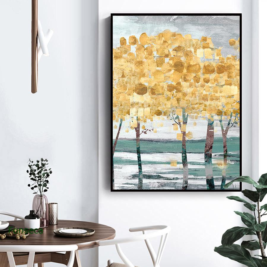 Abstract Forest Canvas Painting Modern Luxury Poster Minimalist Blue Gold Tree Wall Art Pictures Nordic Scandinavian Decor  - buy with discount