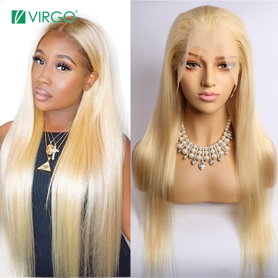 Virgo Blonde Lace Front Wig Straight Hair 13x6 Transparent Lace Frontal Wigs 613 Lace Wig Human Hair Wigs For Black Women Remy