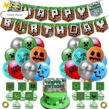 NEUE Spiel Pixel Latex Ballons Kuchen Topper Banner Glücklich Geburtstag Party Dekorationen Liefert Spielzeug Schwein Spielzeug Baby Dusche Kinder Geschenk cheap CN (Herkunft) Nein Cartoon animal Tier Tag der Kinder