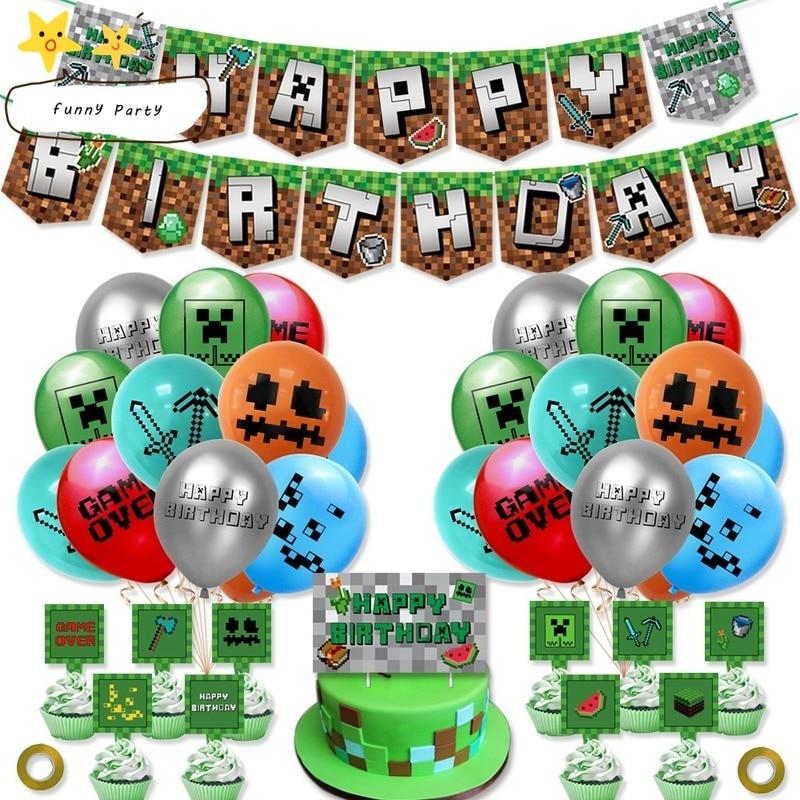 Новая игра пикселей воздушных шаров из латекса, торт фигурки жениха и невесты; Баннеры счастливых День рождения украшения поставки игрушки ...