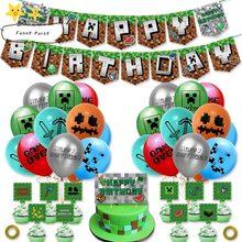 Novo jogo pixel látex balões bolo topper banners feliz aniversário festa decorações suprimentos brinquedos brinquedo porco chuveiro do bebê crianças presente