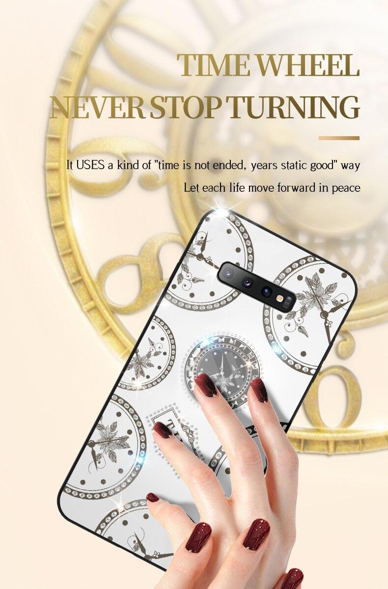 Glitter Diamond Kickstand Case For Samsung Galxy S10 S9 S8 Plus S7edge Fashion Clock Cover For J510 J730 J4 J5 J6 J7 Prime funda
