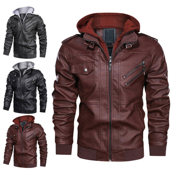 Men Outwear PU Leather Jackets Coat High-quality 2019 Autumn Winter Fashion Zipper Detachable Hat with Pockets  hh88