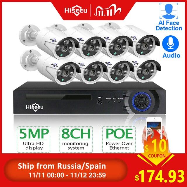 Hiseeu H.265 8CH 5MP POE אבטחת מצלמה מערכת ערכת AI פנים זיהוי אודיו שיא IP מצלמה IR CCTV וידאו מעקב NVR סט