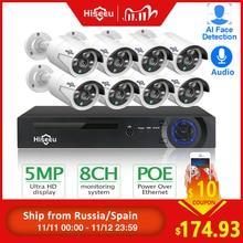 Hiseeu H.265 8CH 5MP POE Kit de système de caméra de sécurité AI détection de visage enregistrement Audio caméra IP IR CCTV vidéo Surveillance NVR ensemble Code promo 1111VENTE10 obtenez 10 euros de réduction en 11.11