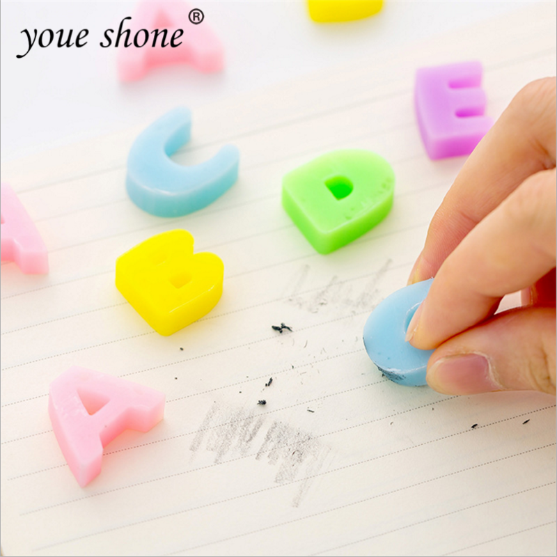6PCS/Bag Cute Alphabet Eraser Learning Stationery Supplies Elementary School Drawing Eraser For Kid Gift School Office Supplies