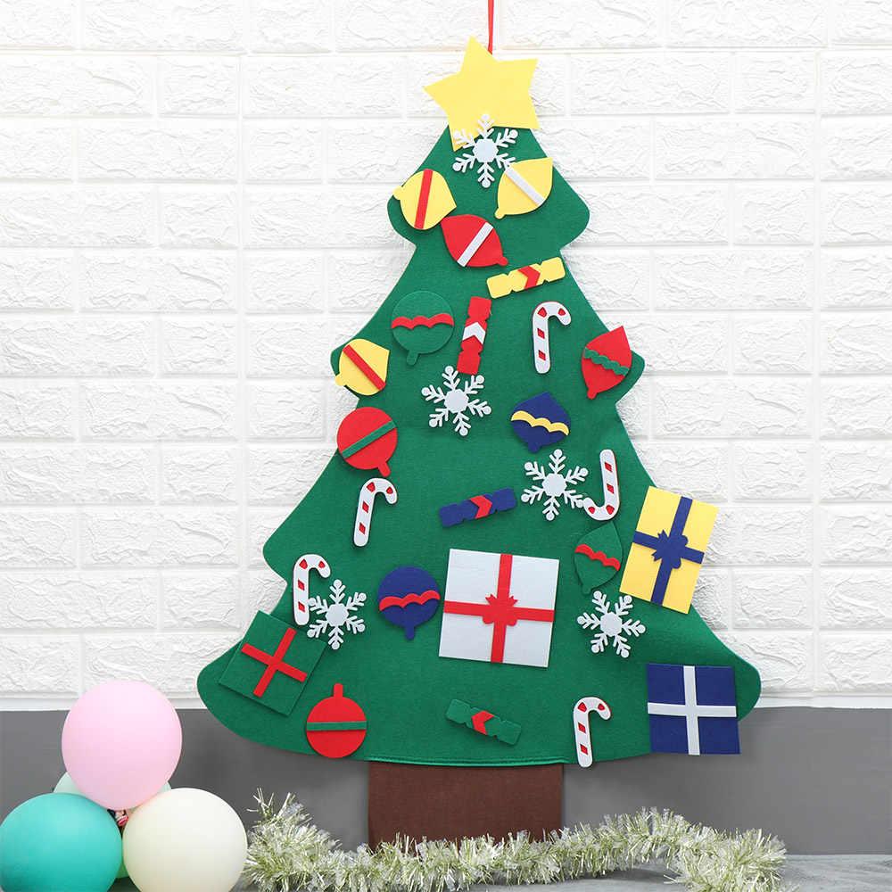 1PC DIY Vilt Kerstboom Nieuwe Jaar Geschenken Kunstmatige Boom Muur Opknoping Ornamenten Kinderen Speelgoed Kerst Decoratie voor Thuis