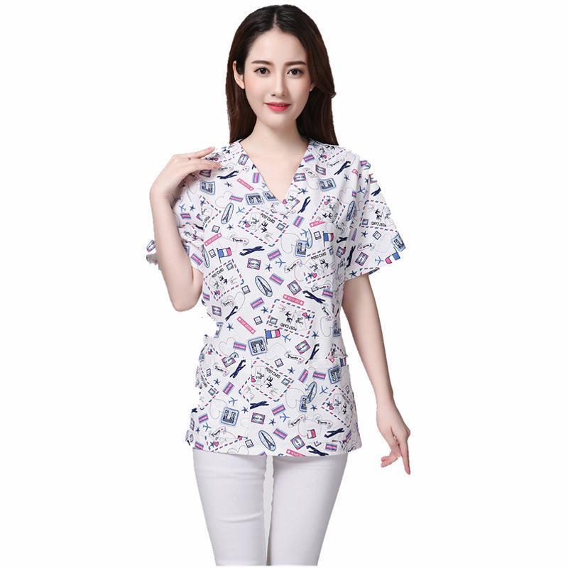 2020 New Spring Summer Cartoon Print Uniform Nurse Scrub Tops Overalls Female Wash Shirts Pharmacy Hospital Beauty Clothing
