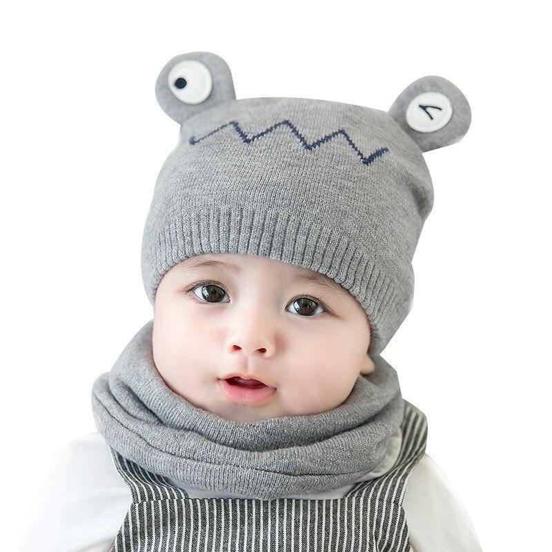 Cartoon Frog Cashmere Knitted Warm Hat Bib Scarf Suit Children Baby Cute Cap Autumn Winter Fashion