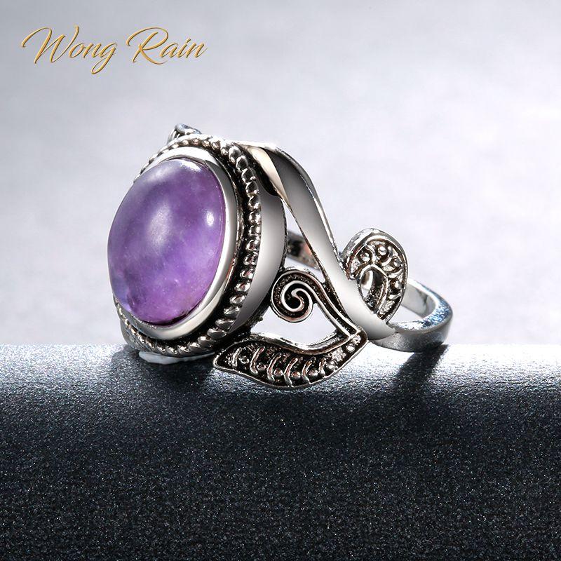 Wong Rain Vintage 100% 925 Sterling Silver Amethyst Gemstone Birthstone Wedding Engagement Plants Ring Fine Jewelry Wholesale