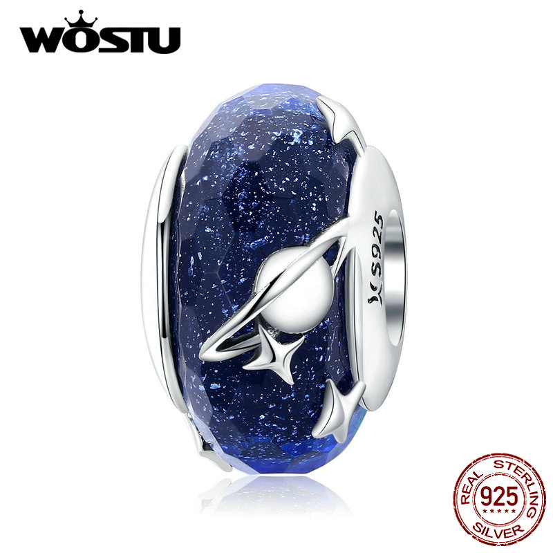 WOSTU Glass Beads Charms-Fit 925-Sterling-Silver Blue Bangle Bracelet Jewelry Insterstellar