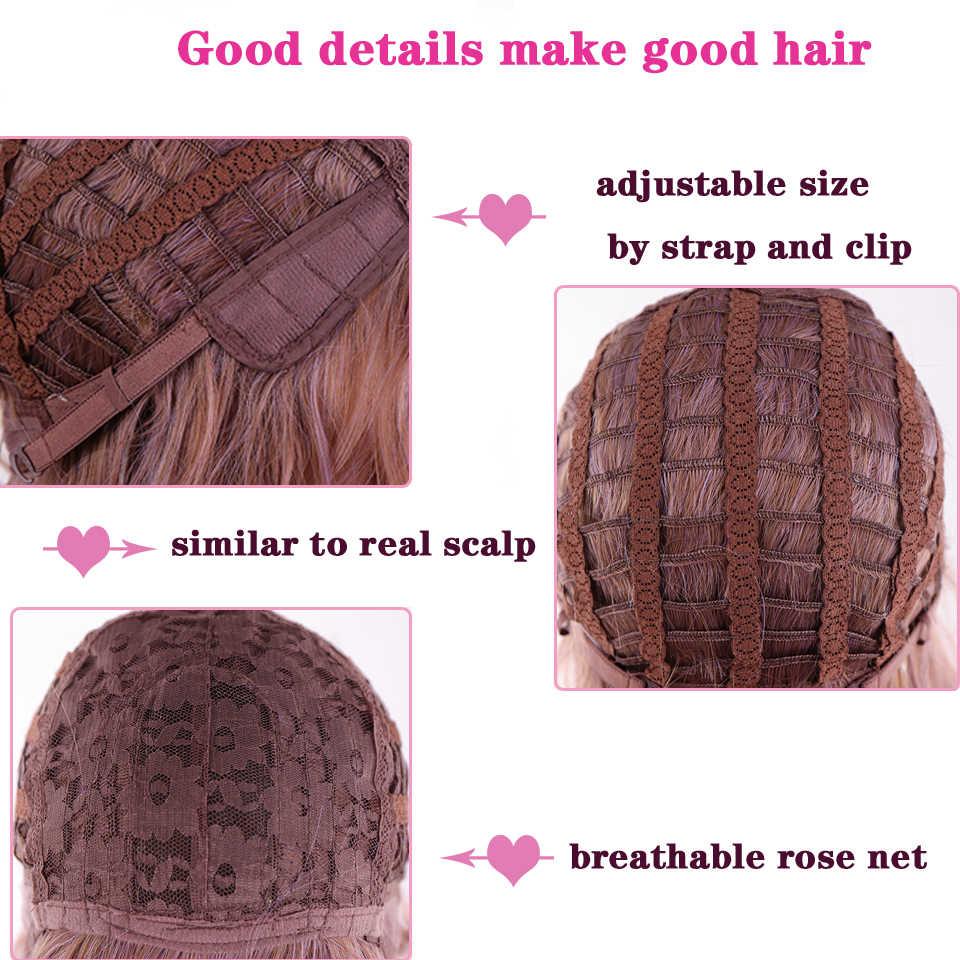 Buqi natural loira longa reta peruca resistente ao calor roxo cosplay perucas de cabelo sintético 2 tom sedoso cabelo falso