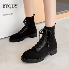 Женские ботильоны из флока byqdy короткая осенне зимняя обувь
