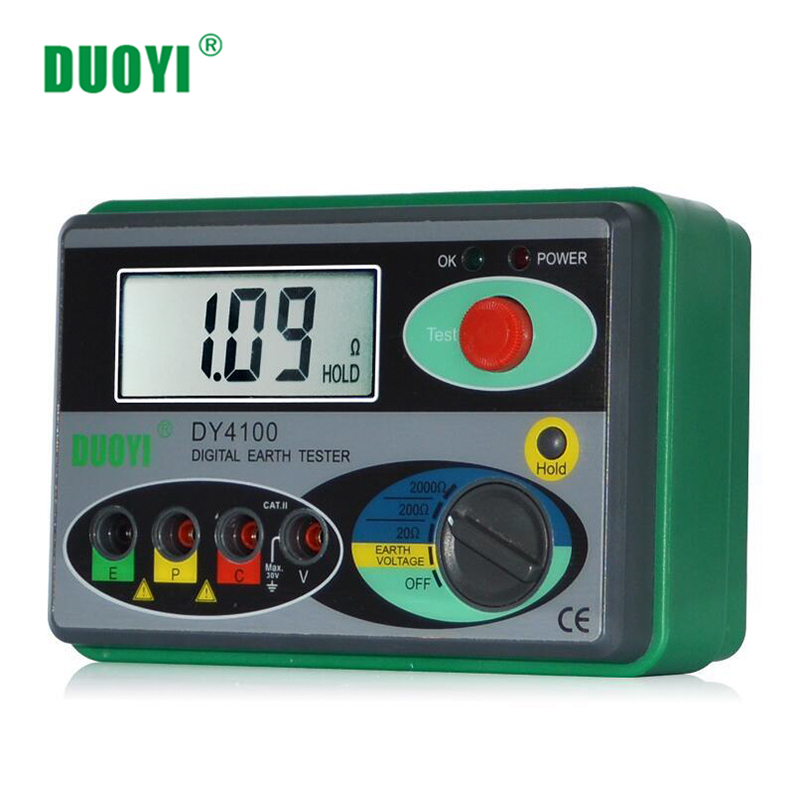 DUOYI Resistance Tester DY4100 Digital Earth Tester Ground Resistance Instrument Megohmmeter 0-2000 Ohm Higher Accuracy Meter