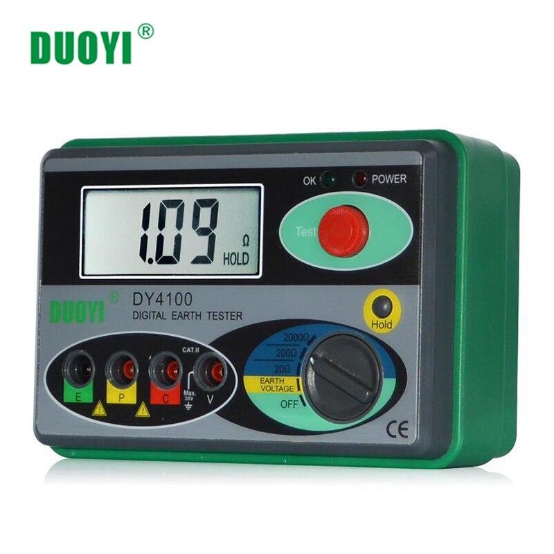 Testeur de résistance DUOYI DY4100 testeur de terre numérique Instrument de résistance au sol megohmmètre 0-2000 Ohm compteur de précision supérieure