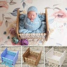 Accesorios de fotografía Para recién nacidos cama de borlas Vintage de madera Para Estudio Infantil sesión de fotos accesorios Para Estudio fotográfico Bebé