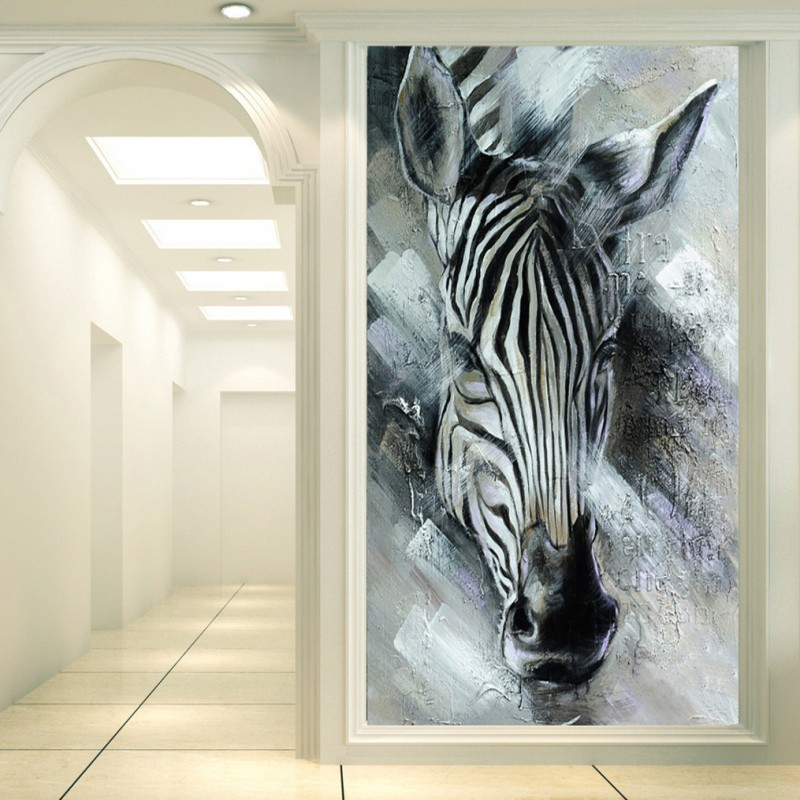 Dropship Custom Mural Custom Painting Frescoes Zebra Stereo Entrance Background Wall Corridor Aisle Wallpaper Living Room Mural