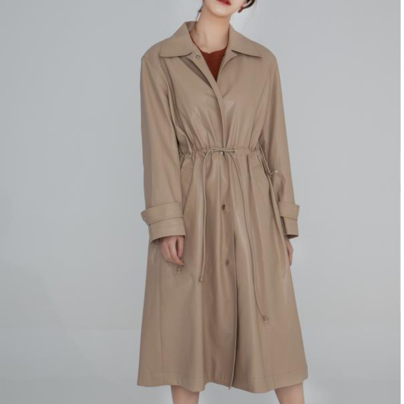 TVVOVVIN Women Pu Leather Drawstring Pleated   Trench   New Lapel Long Sleeve Loose Fit Windbreaker Fashion Autumn Winter 2019 F902
