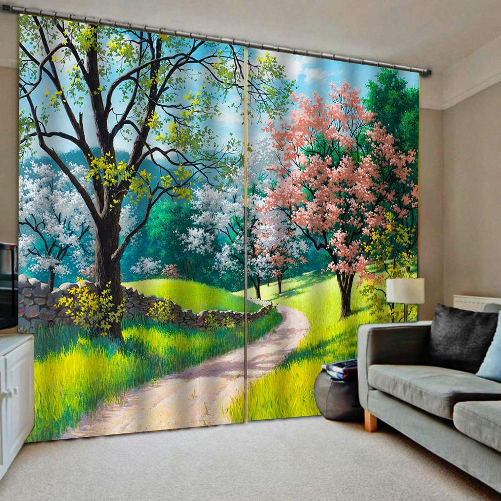 3D High Quality Curtain Beautiful Flowers And Plants Landscape Curtains For Living Room Bedroom Photo Curtains 3d