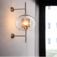 Industrial Vintage Ball Glass Wall Lights Sconce Indoor Copper Aisle Lights Living Room Lamp Restaurant Bedroom Bedside Lamp