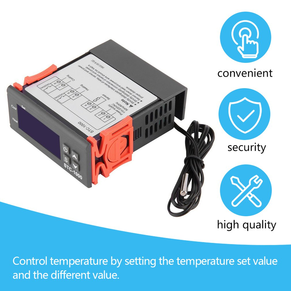Newest Temperature Controller Thermostat Aquarium STC1000 Incubator Cold Chain Temp Wholesale Laboratories Temperature