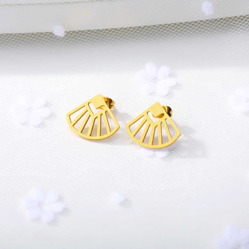 Hollows Seashell Aretes De Mujer Gold Color Sector Stud Earrings For Women Stainless Steel Girlfriend Gift 2019